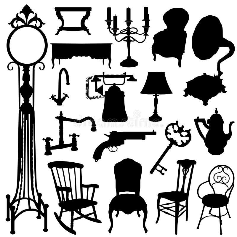 Objetos antigos ajustados ilustração royalty free