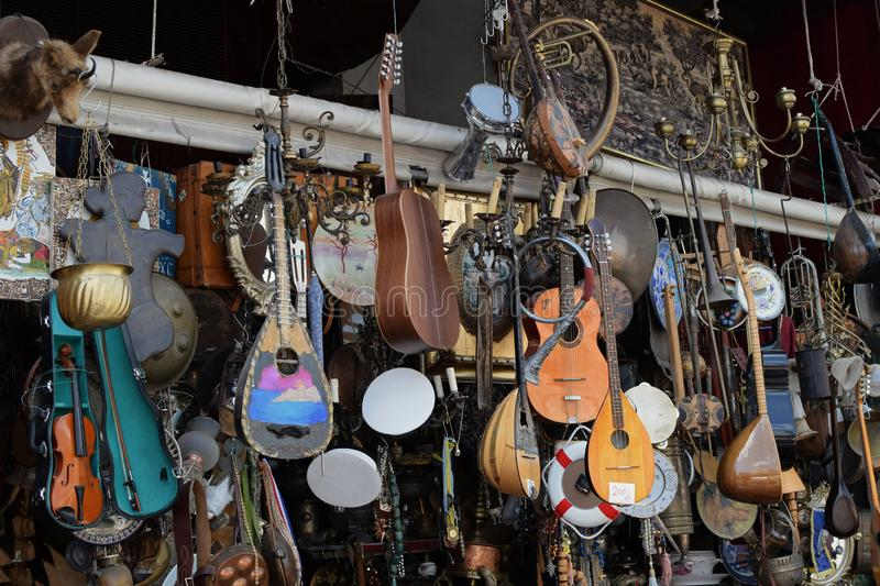 Objetos antiguos de los instrumentos musicales del vintage foto de archivo libre de regalías