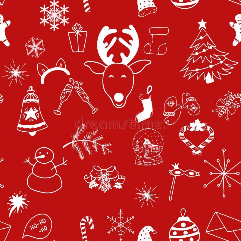 Objetos brancos do teste padrão sem emenda do Natal no fundo vermelho ilustração do vetor