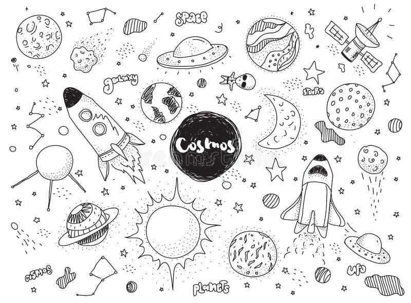 Objetos cósmicos fijados Garabatos dibujados mano del vector Rockets, planetas, constelaciones, UFO, estrellas, etc Tema del espa ilustración del vector