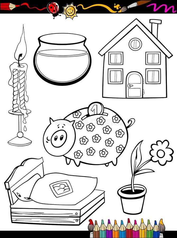 Objetos caseros de la historieta que colorean la página libre illustration