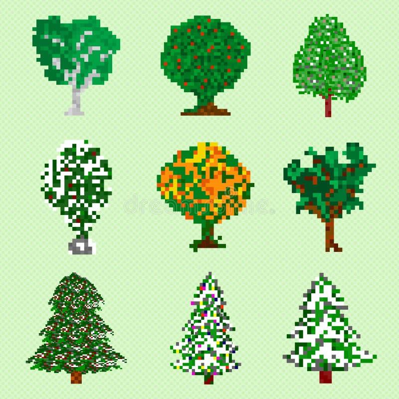 Objetos collectiones de los árboles del arte del pixel libre illustration