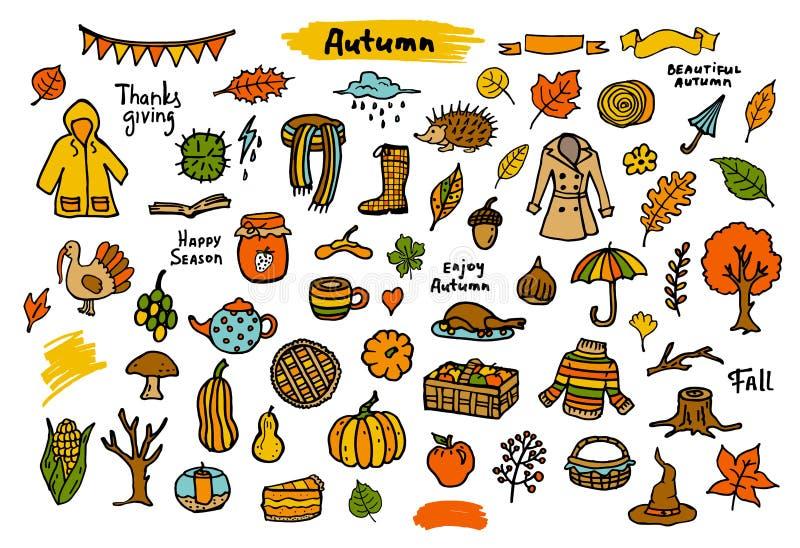 Objetos coloridos estacionales de la acción de gracias de la caída del otoño, ilustración del vector