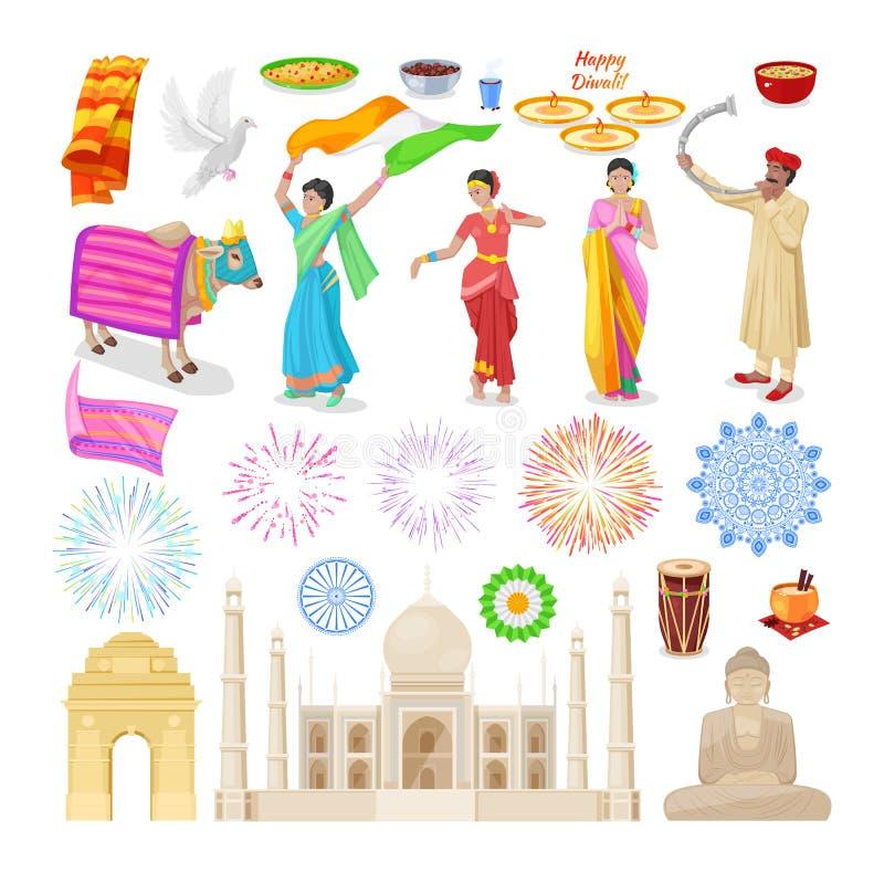 Objetos culturales de la India Comida, bebidas, gente, monumentos, animales sagrados libre illustration