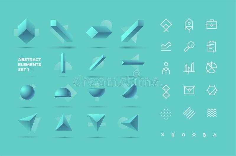 Objetos 3D e ícones realísticos abstratos imagens de stock