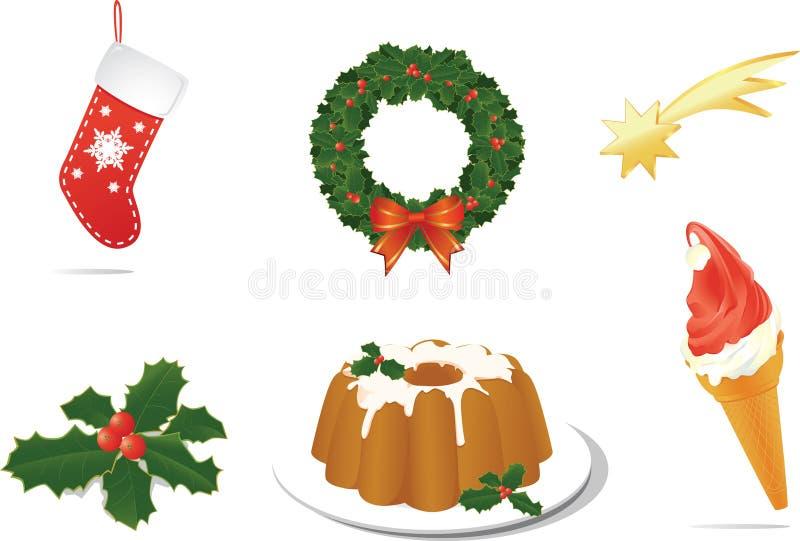Objetos da celebração do Natal para a cópia, local ilustração do vetor