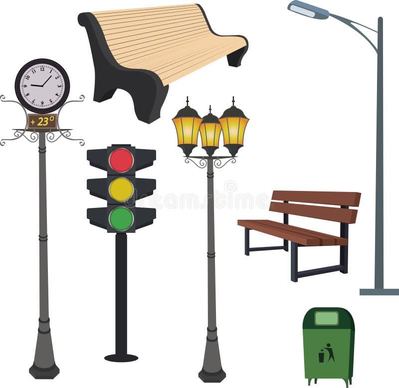 Objetos da cidade: caixote de lixo, poste de luz, horas da rua, sinal, banco ilustração stock