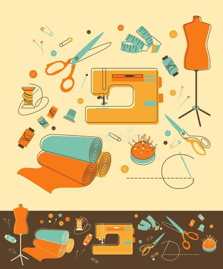 Objetos da costura ilustração royalty free