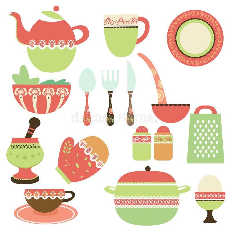 Objetos da cozinha ilustração royalty free