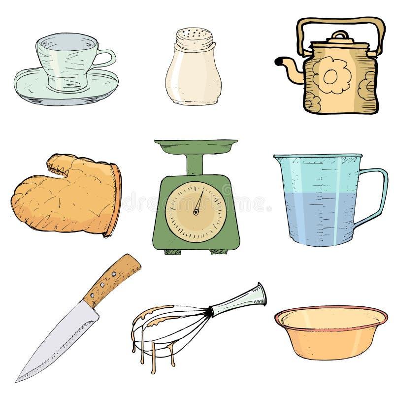 Objetos da cozinha ilustra o do vetor ilustra o de dom stico 28255824 - Objetos de cocina ...
