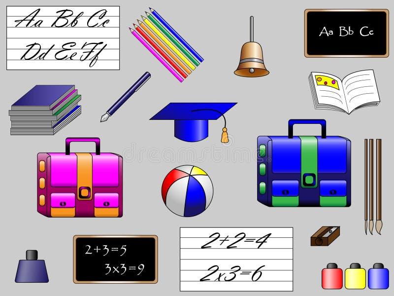 Objetos da escola ilustração stock
