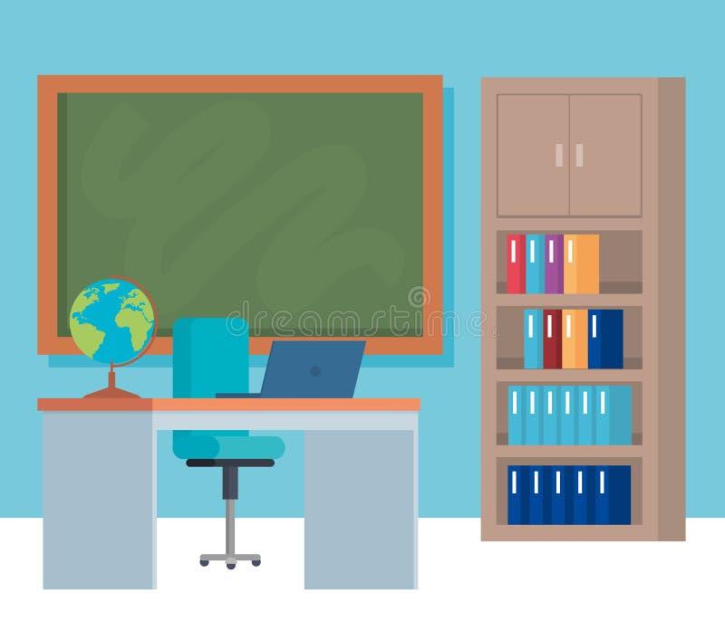 Objetos da escola e projeto da mobília ilustração royalty free