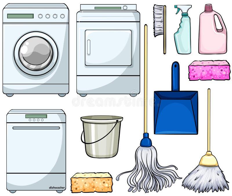 Objetos da limpeza ilustração do vetor