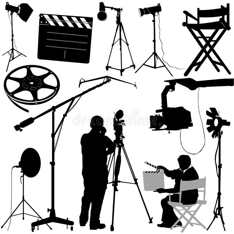 Objetos da película e vetor do operador cinematográfico ilustração royalty free