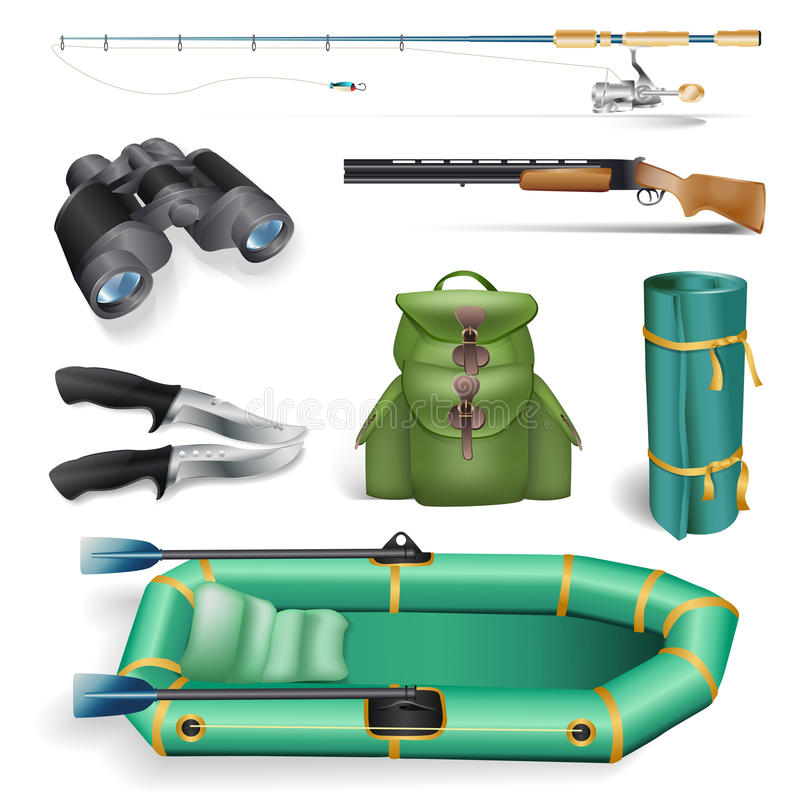Objetos da pesca e da caça ilustração do vetor