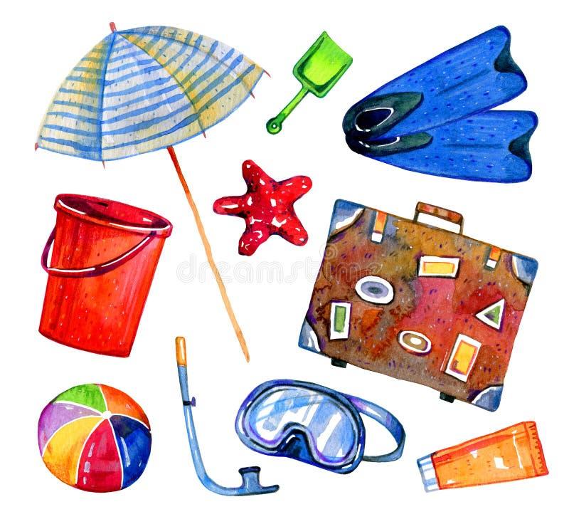 Objetos da praia - parasol, aletas, mala de viagem, bola, m?scara, cubeta Grupo tirado m?o da aquarela ilustração stock