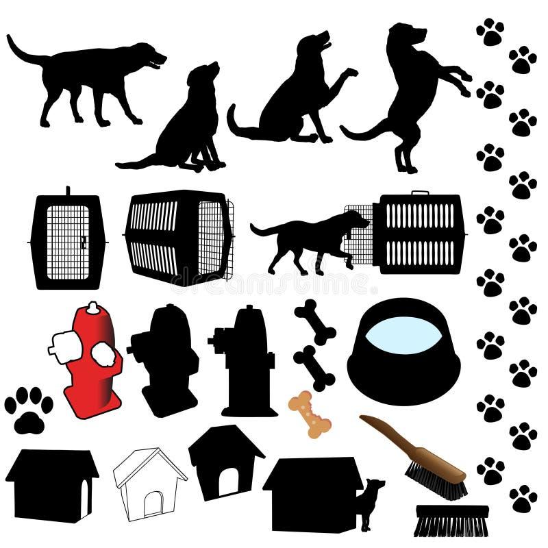 Objetos da silhueta do cão de animal de estimação ilustração stock
