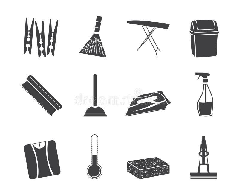 Objetos da silhueta e ícones home das ferramentas ilustração royalty free