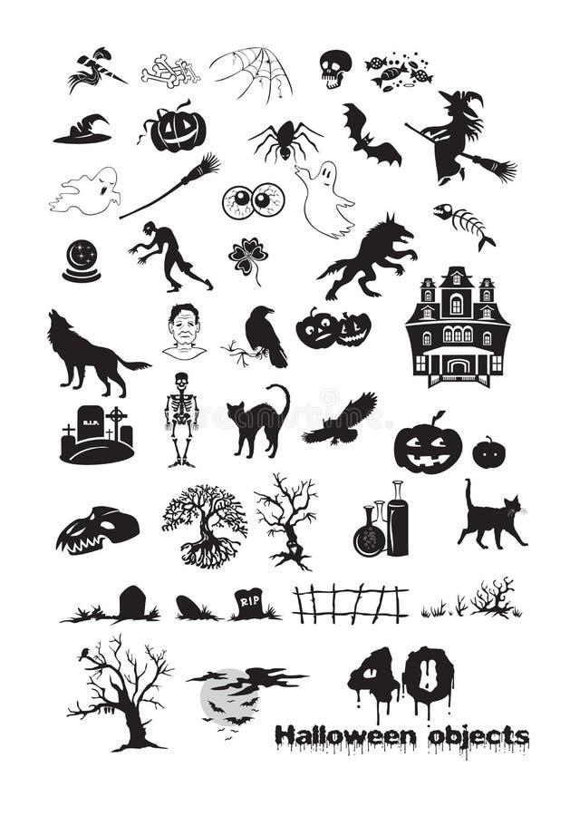 40 objetos de Dia das Bruxas ilustração royalty free