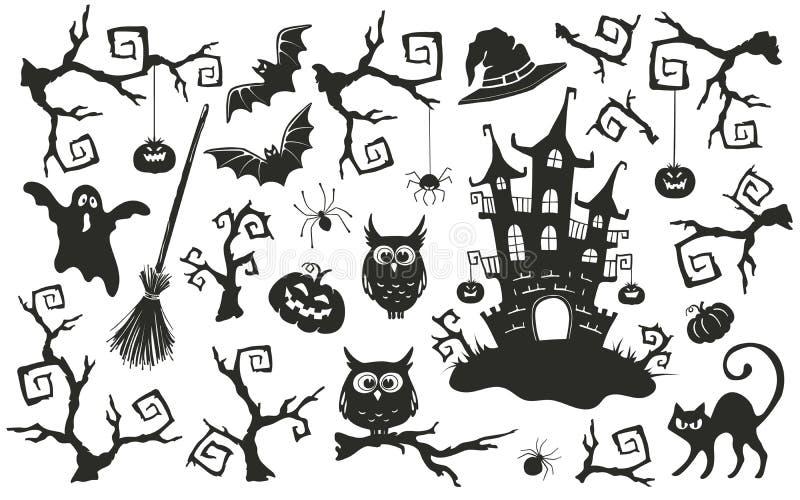 Objetos de Dia das Bruxas ajustados ilustração royalty free