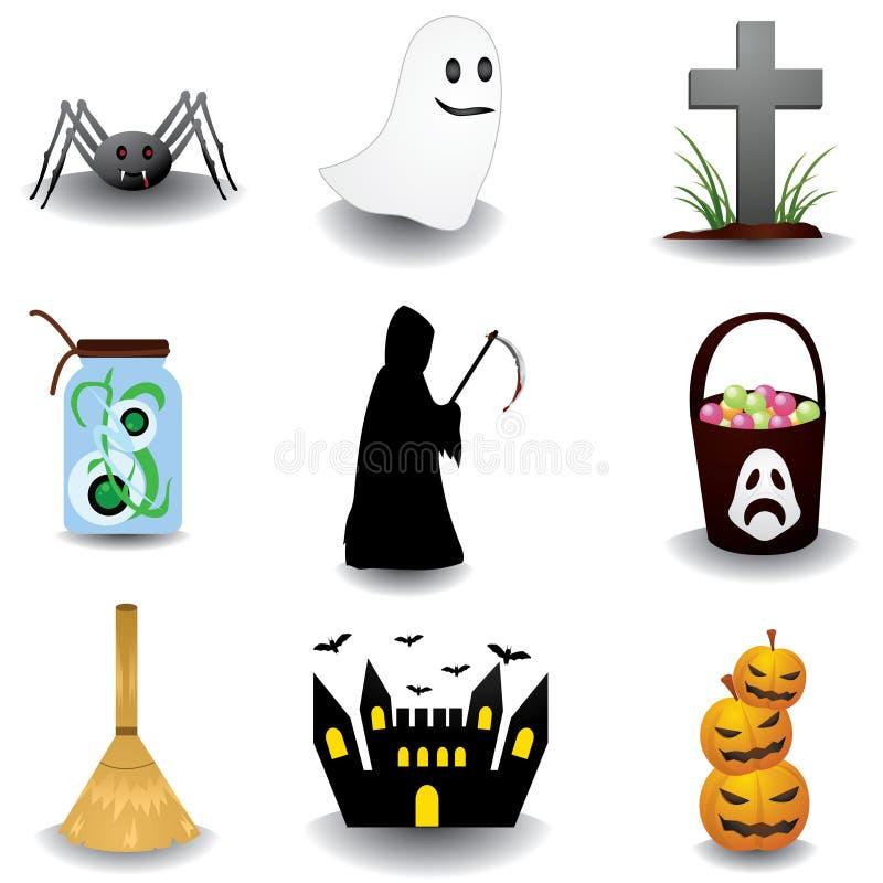 Objetos de Halloween ilustração stock