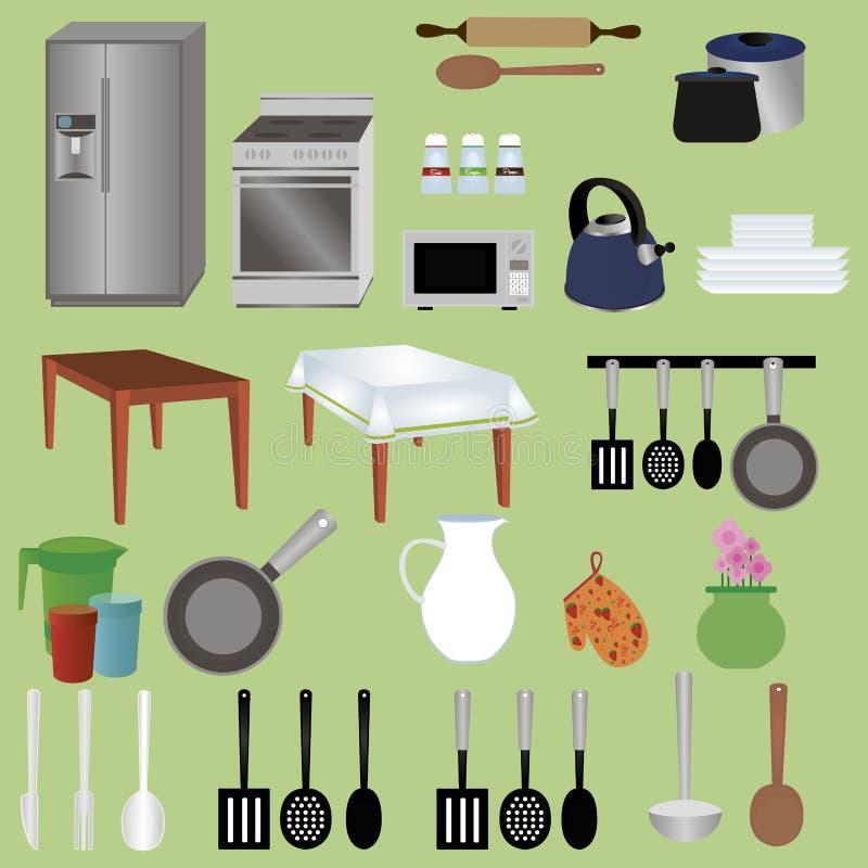 Objetos de la cocina stock de ilustración