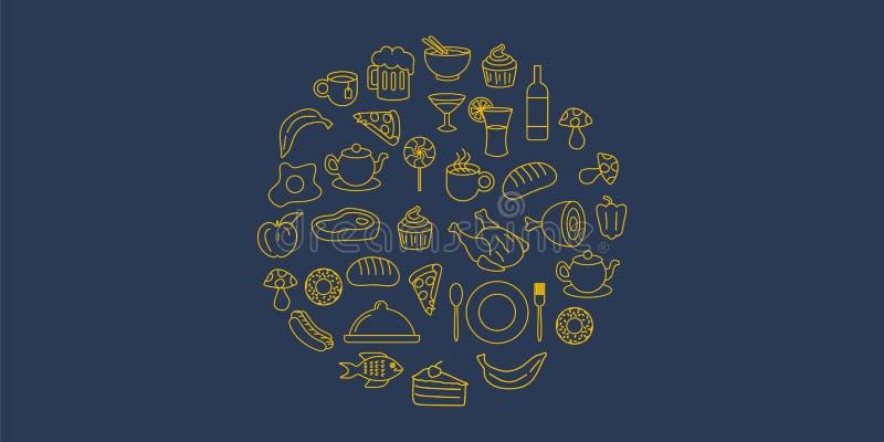 Objetos de la comida del garabato del vintage con la línea exhausta estilo de la mano del arte Composición redonda del ejemplo de stock de ilustración