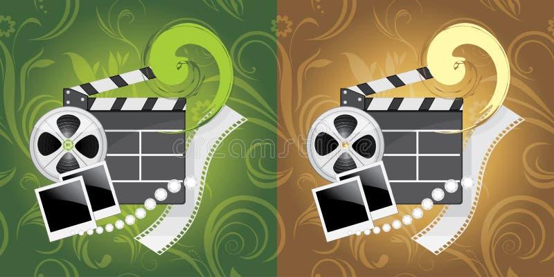 Objetos de la industria del cine en el fondo ornamental libre illustration