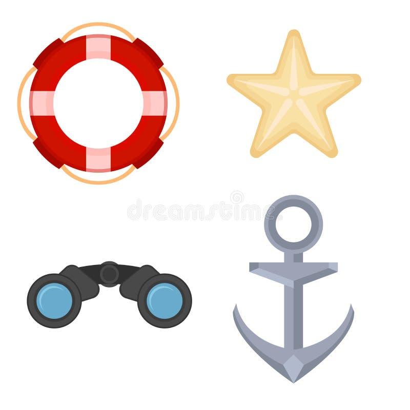 Objetos de la navegación del mar fijados Los iconos marinos fijaron con el ancla, los prismáticos, las estrellas de mar y salvavi libre illustration