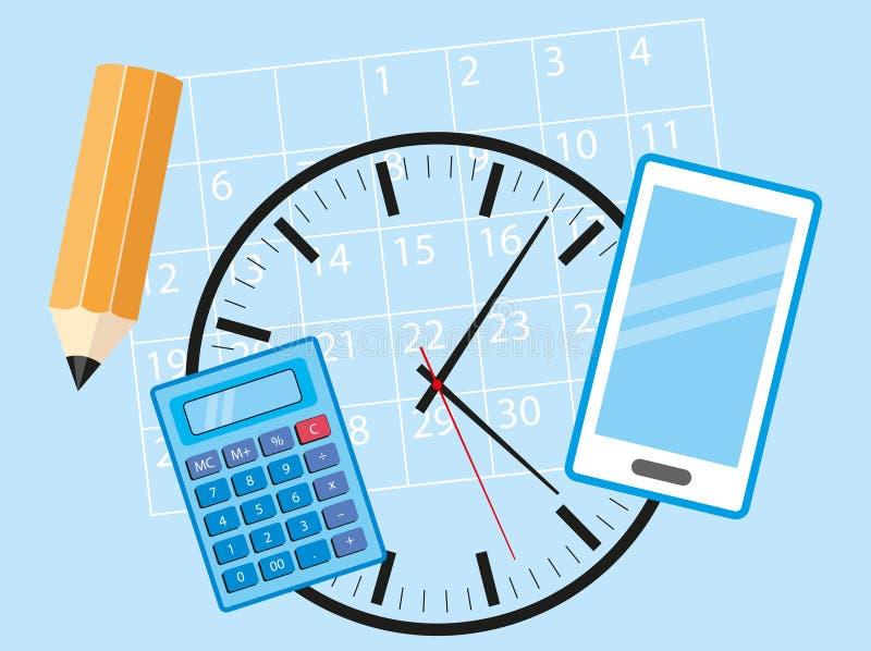 Objetos de la oficina para el hombre de negocios ocupado - teléfono celular, calculadora, calendario, reloj y lápiz mintiendo en  ilustración del vector