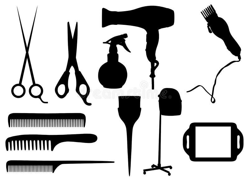 Objetos de la peluquería ilustración del vector