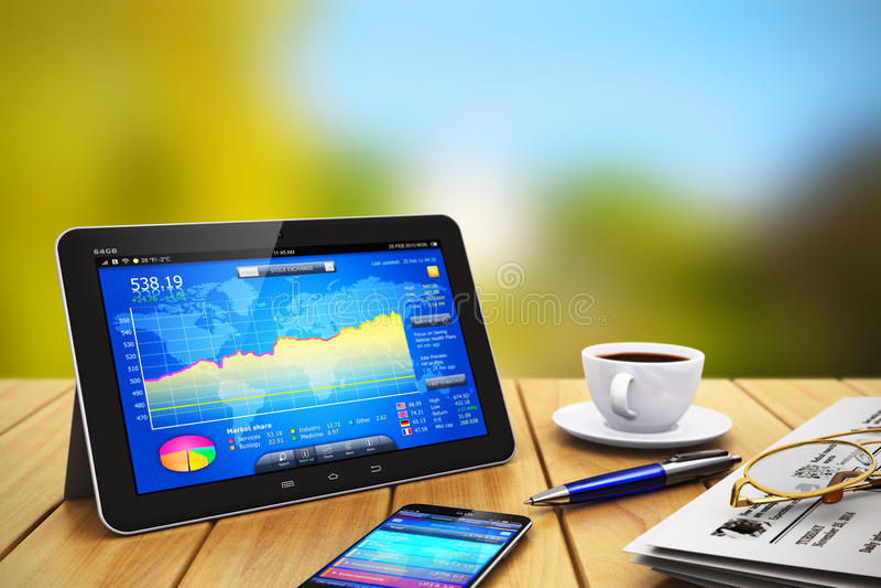 Objetos de la tableta, del smartphone y del otro sector en de madera ilustración del vector