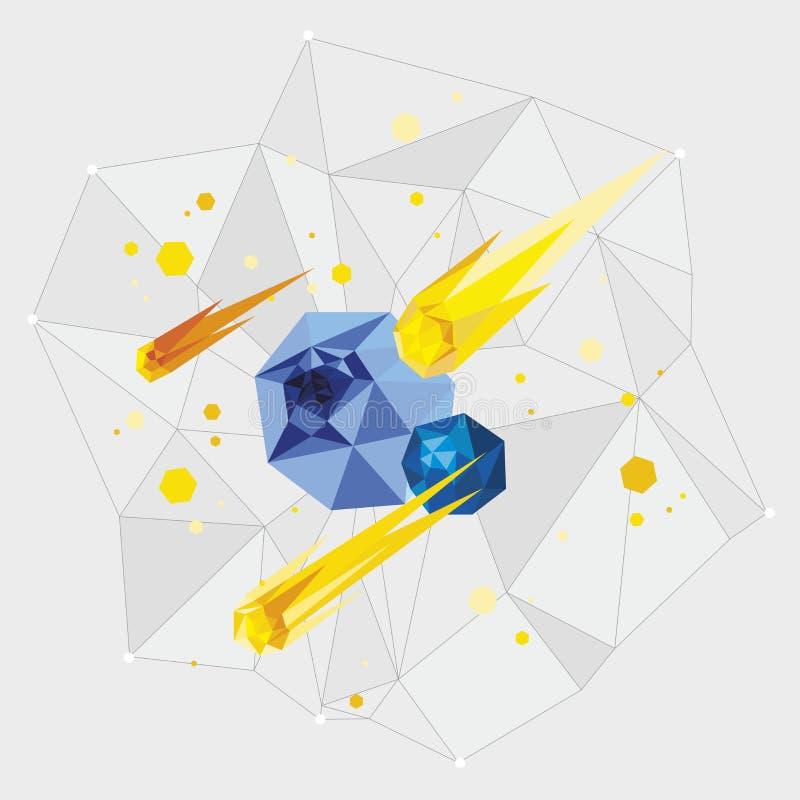 Objetos de Minimalistic do espaço em um estilo geométrico em um fundo cinzento ilustração stock