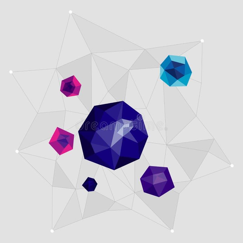 Objetos de Minimalistic do espaço em um estilo geométrico em um fundo cinzento ilustração do vetor