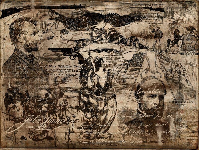 Objetos de recuerdo de la guerra civil ilustración del vector