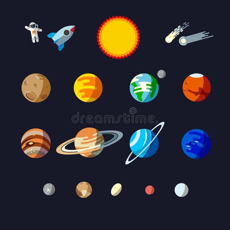 Objetos de sistema solar, grupo liso do estilo Planetas e planetas pequenos ilustração do vetor