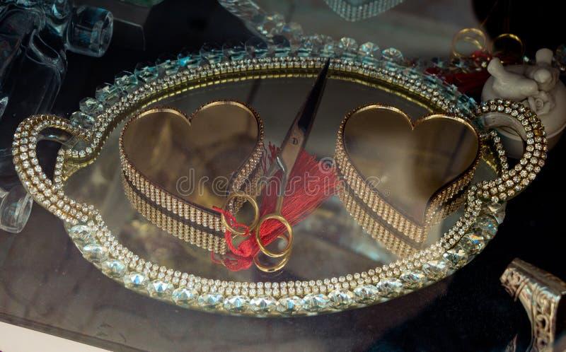 Objetos decorativos coloridos dados forma coração imagem de stock royalty free