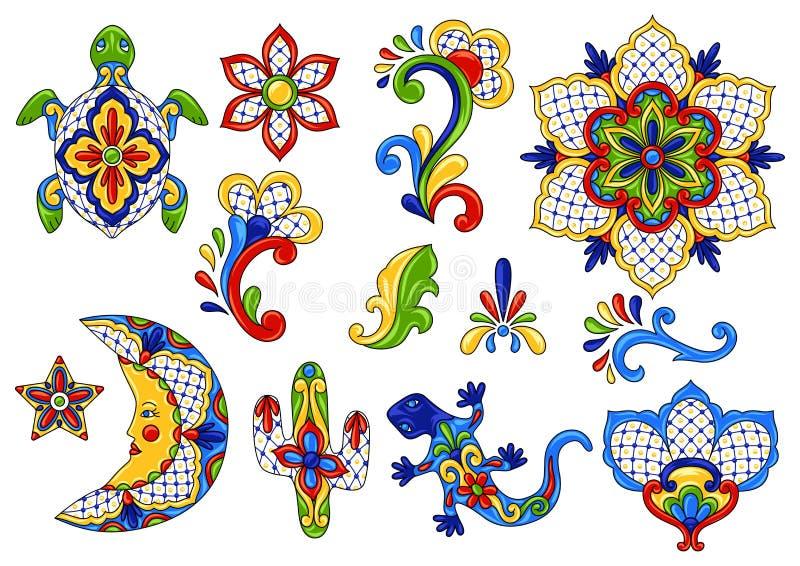 Objetos decorativos tradicionais mexicanos ilustração royalty free