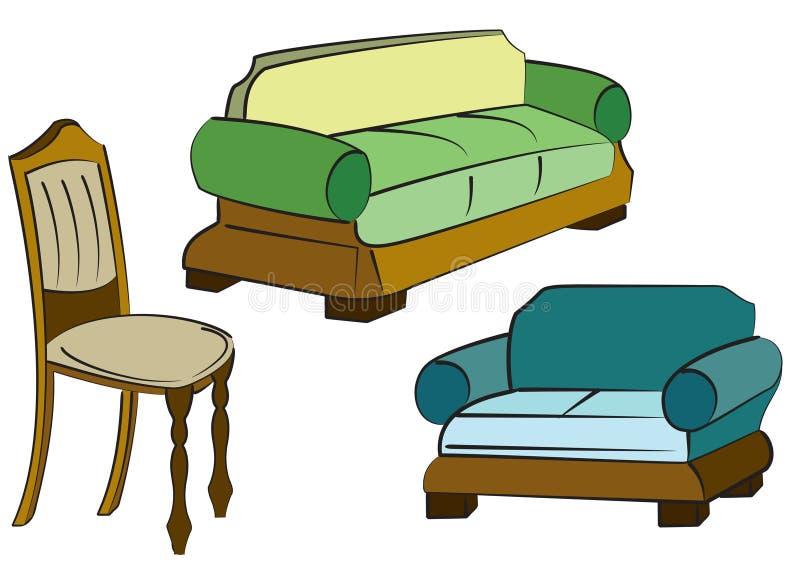 Objetos del grupo del sofá stock de ilustración