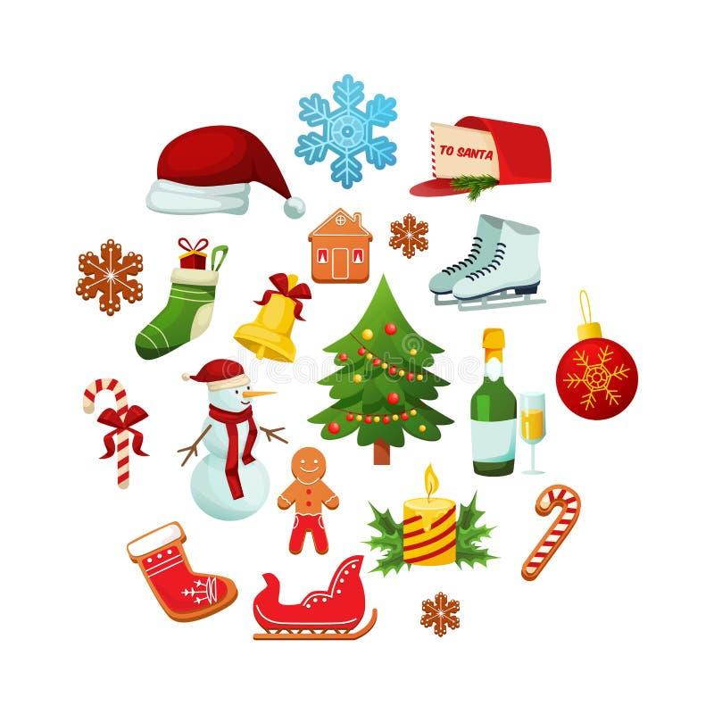 Objetos del invierno del día de fiesta de la Navidad por Año Nuevo libre illustration
