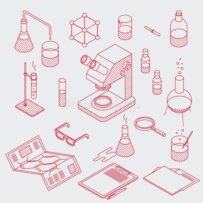 Objetos del laboratorio de química fijados libre illustration