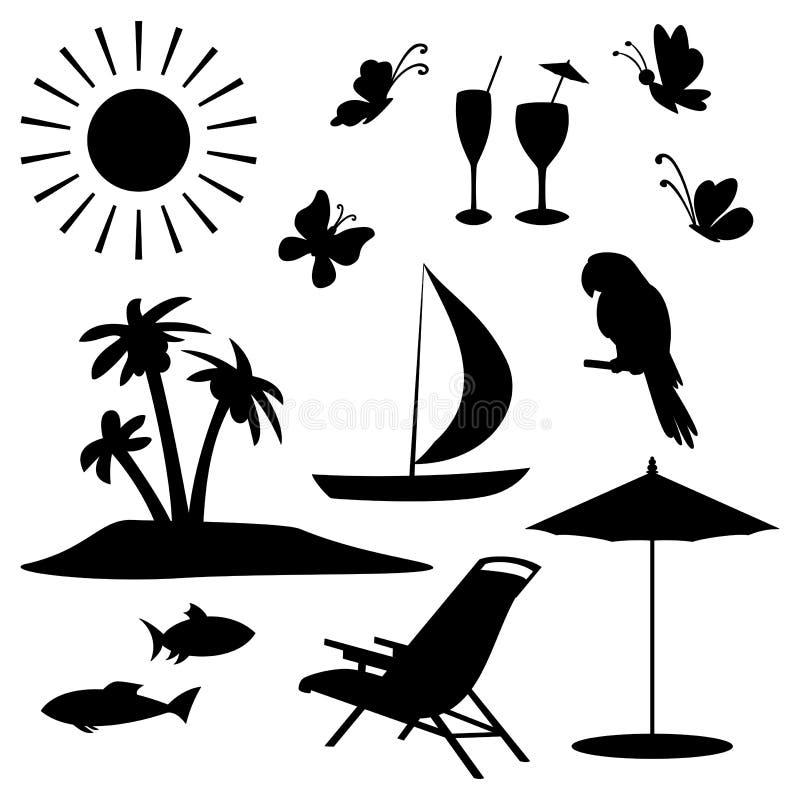 Objetos del verano stock de ilustración
