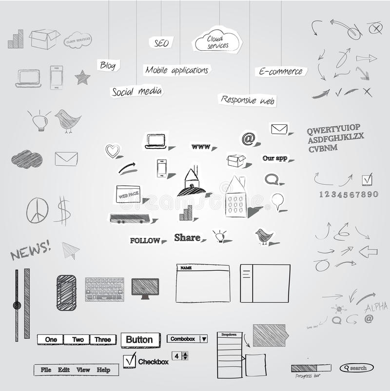 Objetos dibujados mano libre illustration