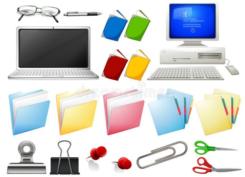 Objetos do computador e do escritório ilustração royalty free