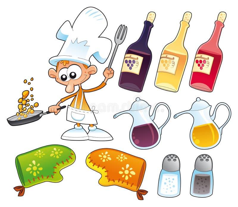 Objetos do cozinheiro e da cozinha ilustração stock