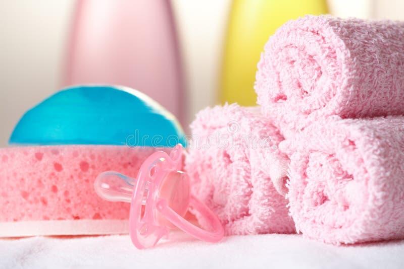 Objetos do cuidado do bebê fotos de stock royalty free