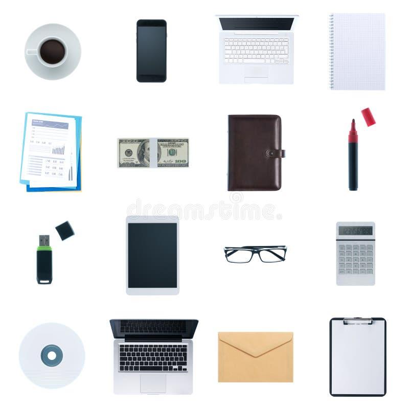 Objetos do desktop do negócio ajustados imagens de stock royalty free