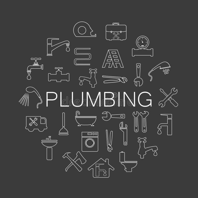 Objetos do encanamento e ícones das ferramentas ilustração stock