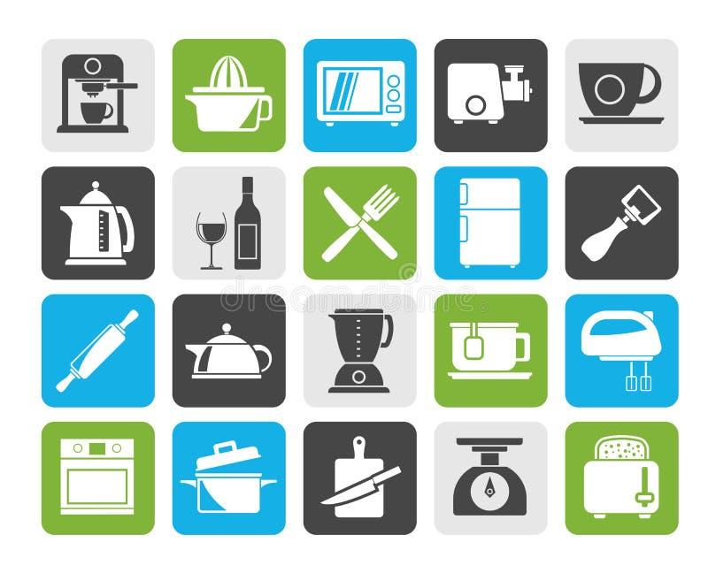 Objetos do Kitchenware da silhueta e ícones do equipamento ilustração stock