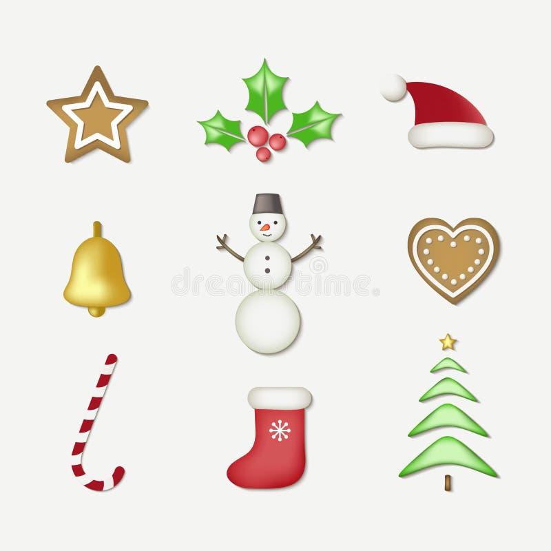 Objetos do Natal do inverno e do ano novo ajustados ilustração stock